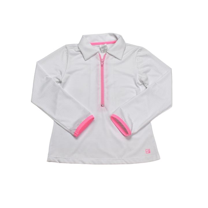 White Heather Pullover w/ Pink Zipper