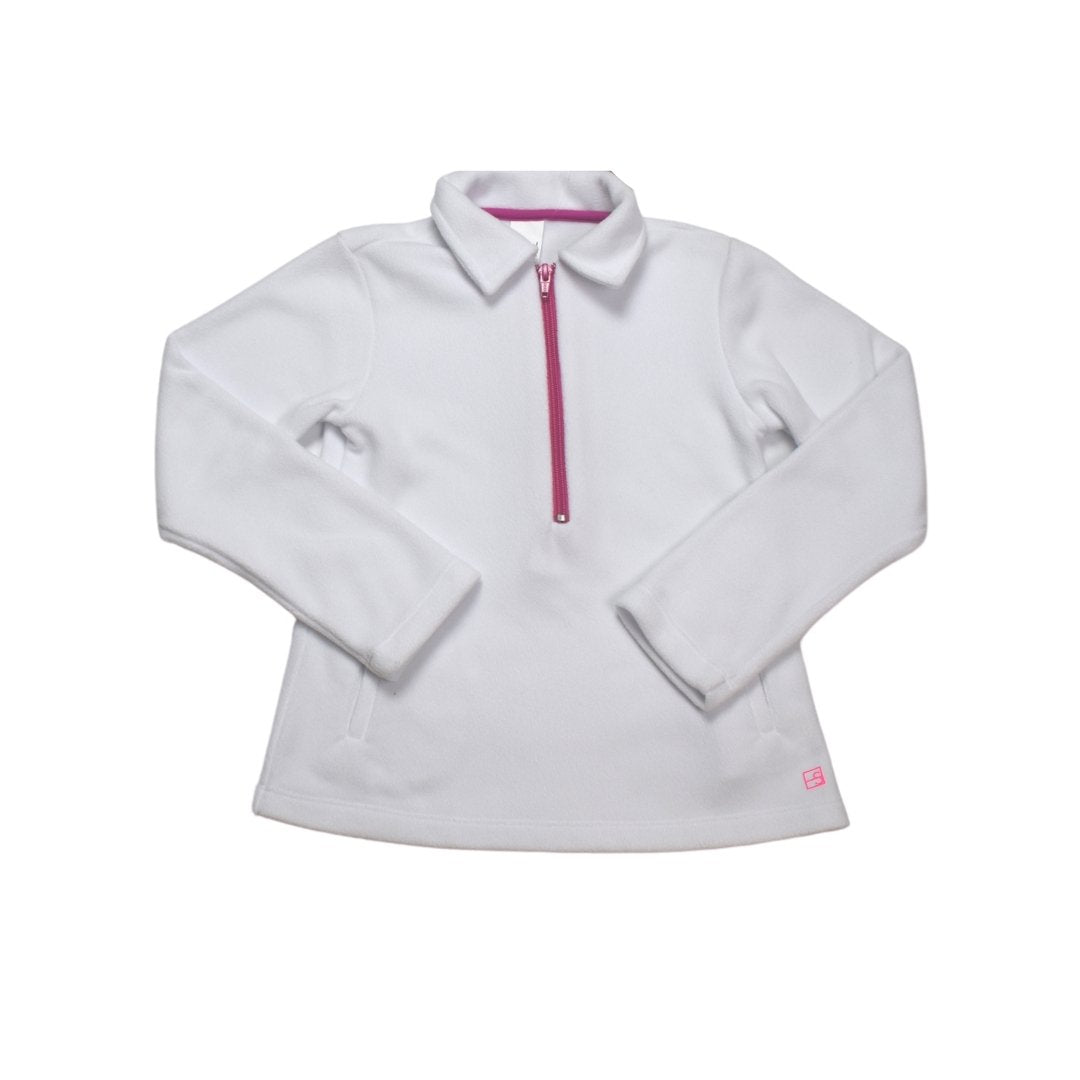 White Heather Half Zip w/ H. Pink Zipper