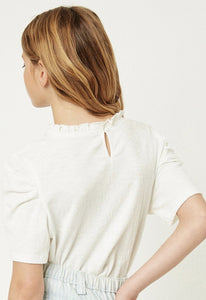 Off White Ruffle High Neck Blouse