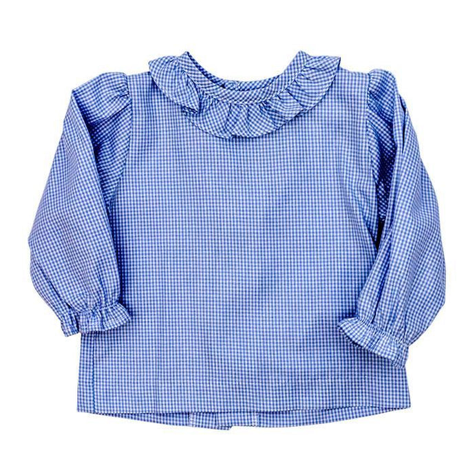 Toddler Blue Check Shirt W/ Ruffle