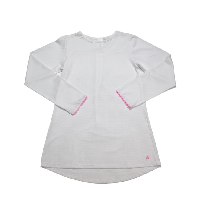 Lindsay White Long Tee w/ Pink