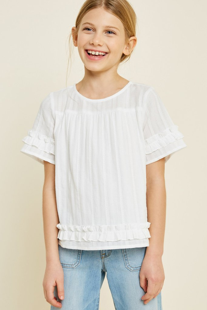 Off White Ruffle Trim Top