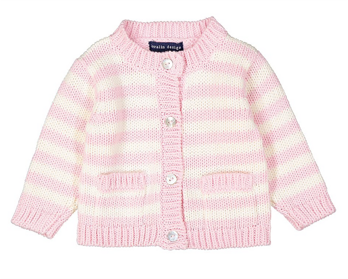 Pink & Cream Stripe Cardigan 0/6M