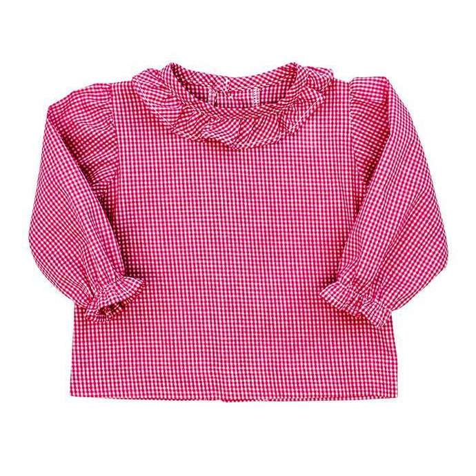Toddler Pink Check Shirt W/ Ruffle