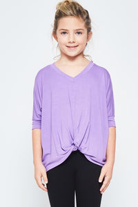 Girls Purple Knotted Tee