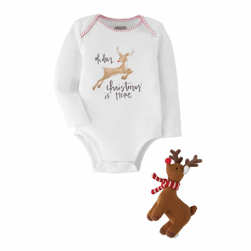 Reindeer Knit Rattle Gift Set