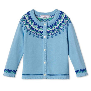 Sage Heart Blue Fair Isle Cardigan