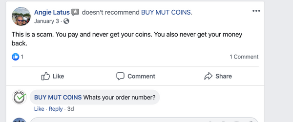 buy mut coins scam