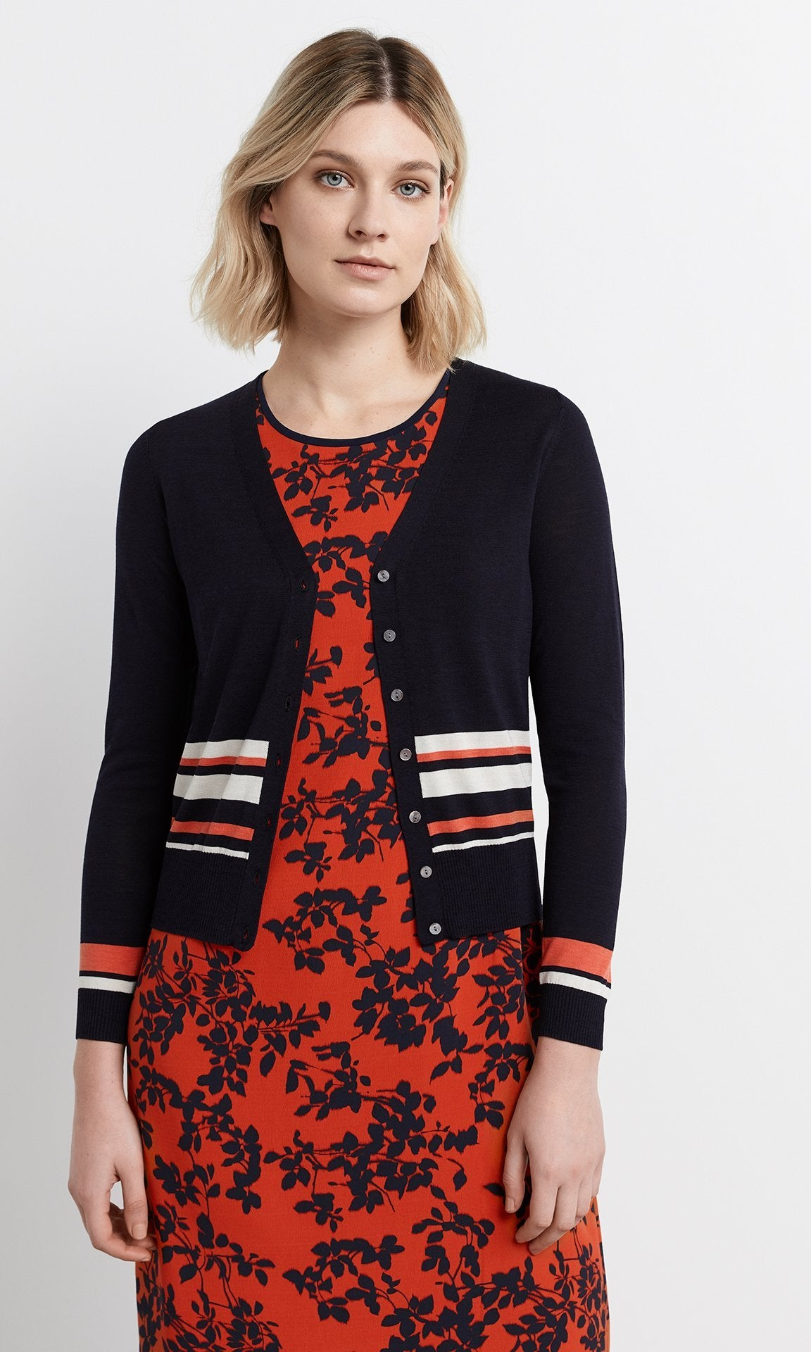 Manarola Cardigan - Navy/Lobster/Creme