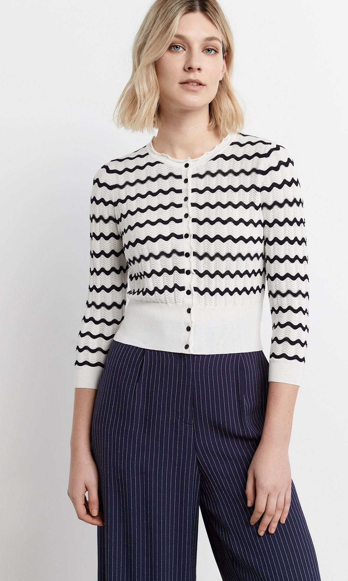 Onde Cardigan -  White/Navy