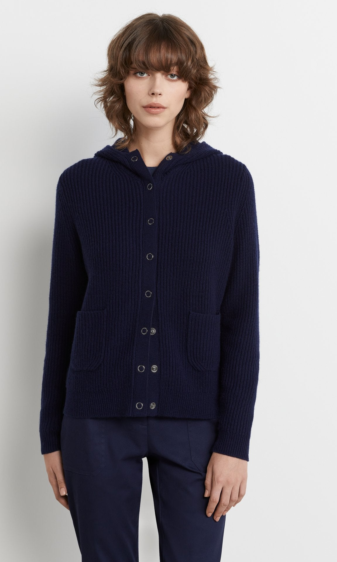 Weston Hooded Cardigan Navy