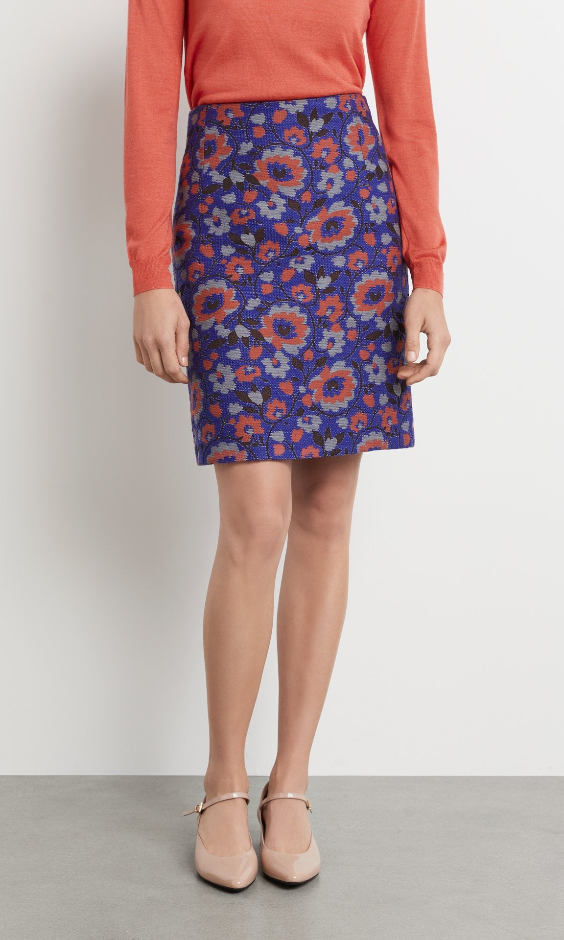 Harriet Skirt - Cobalt/Coral