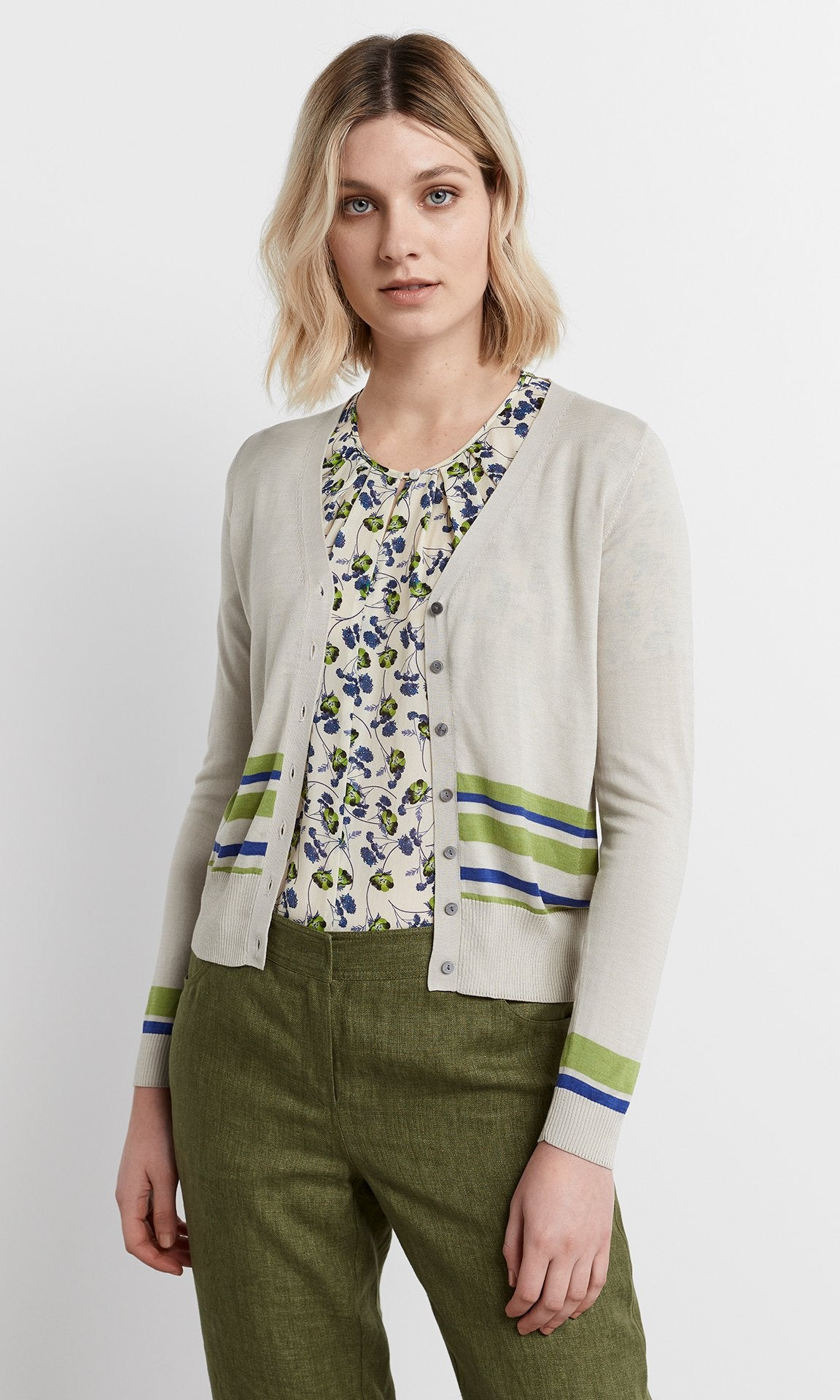 Manarola Cardigan - Putty/Lime/Cobalt