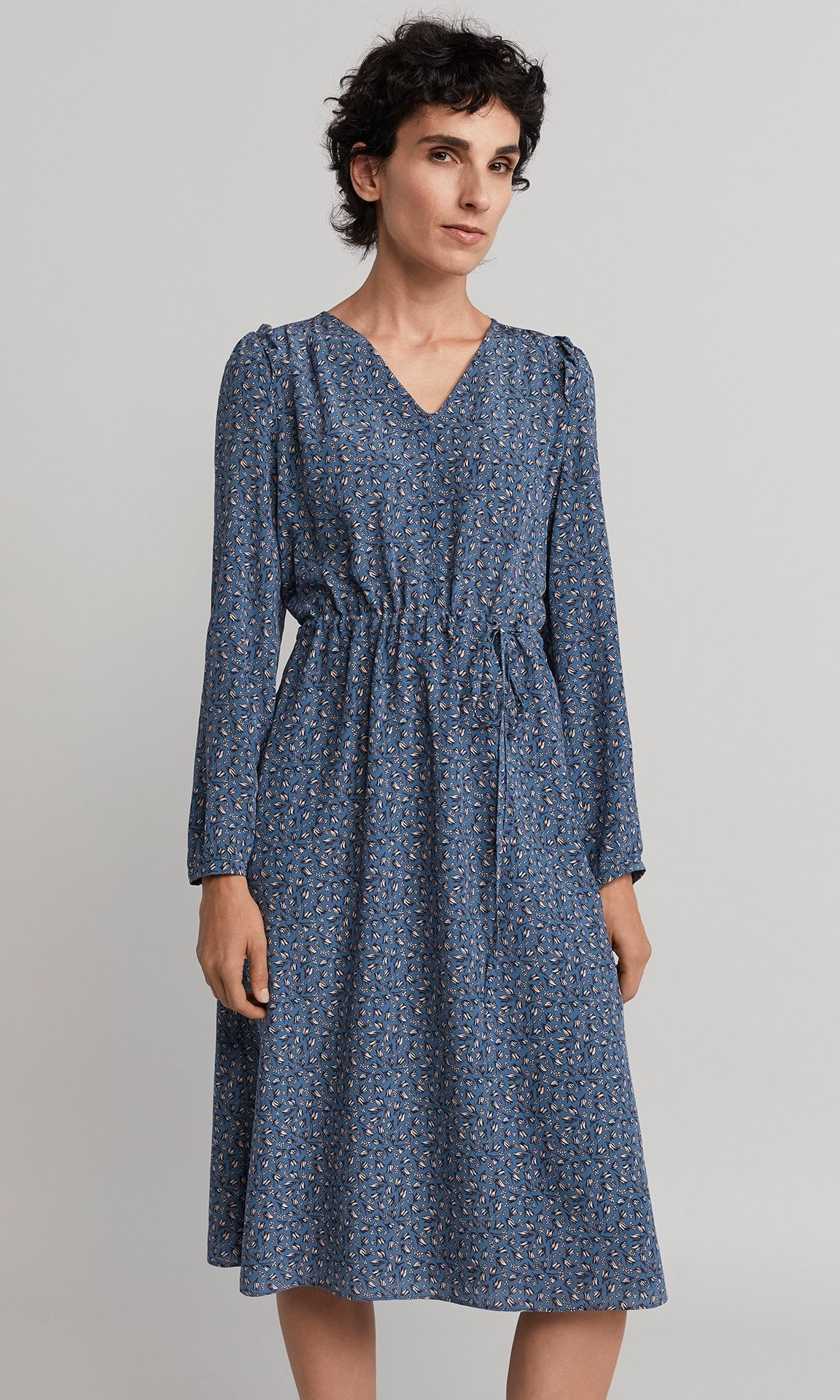 Abigail Dress - Blue/White