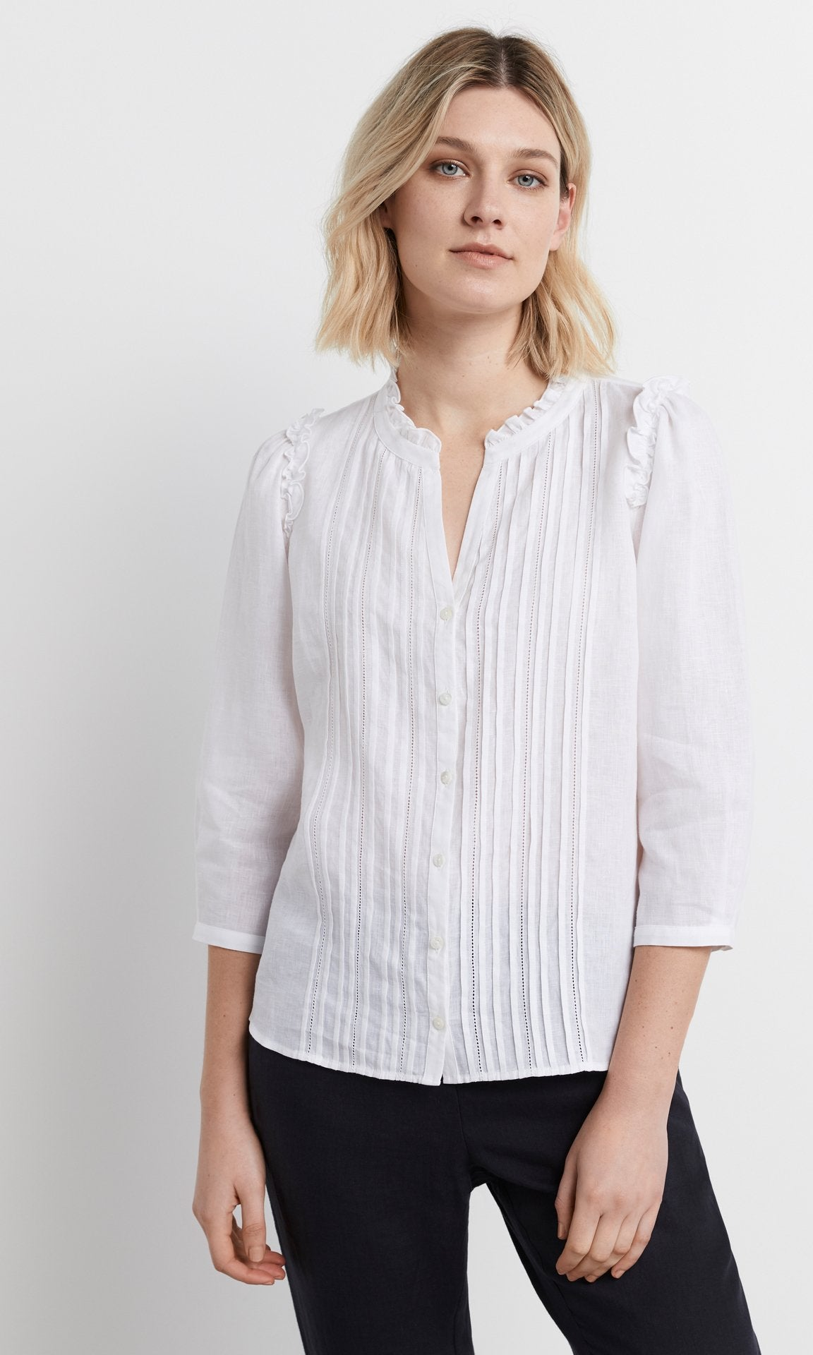Rocca 3/4 Sleeve Blouse - White