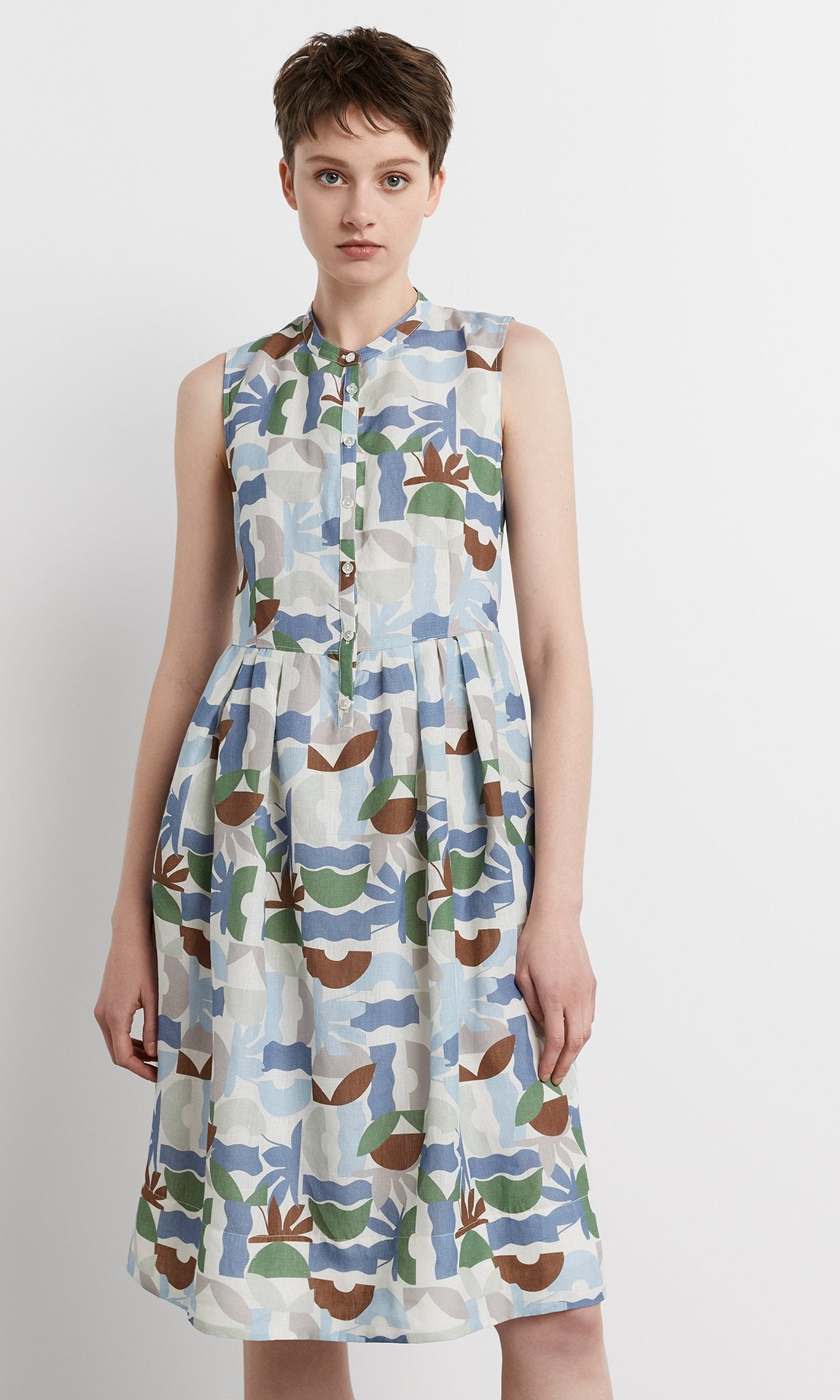 Nicola Dress - Pale Blue/Sage