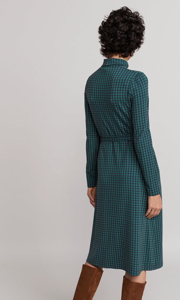 Crowley Dress - Navy/Emerald