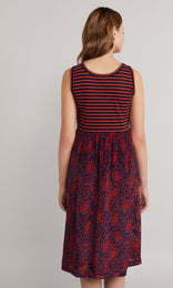 Bellini Dress - Navy/Red