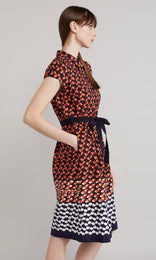 Leaf Dress - Navy/Red