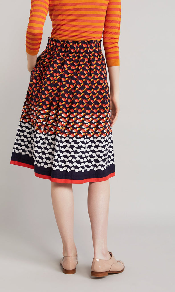 Leaf Skirt  - Navy/Red