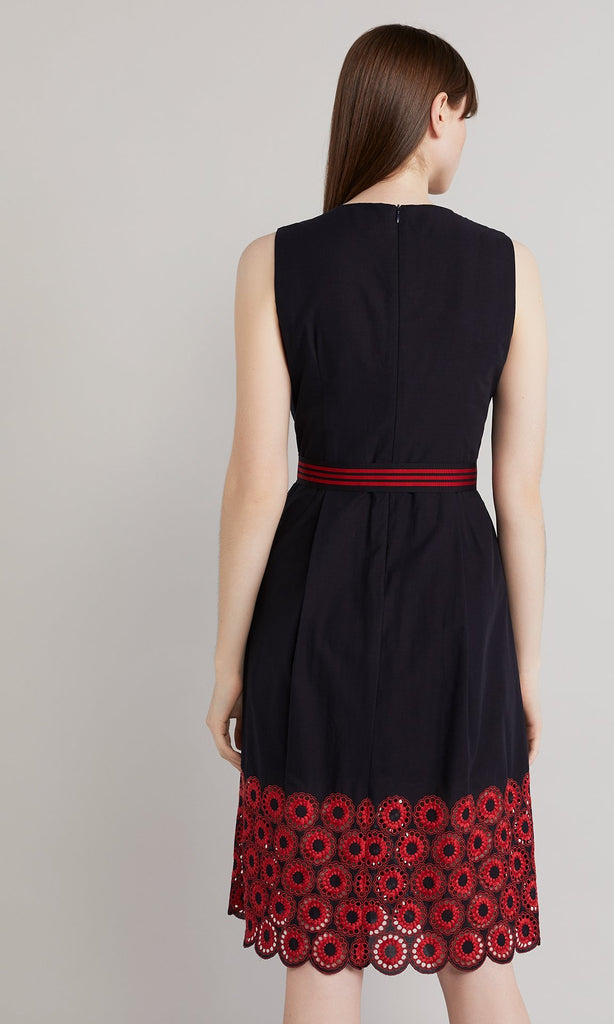 Loretta Dress - Navy/Red