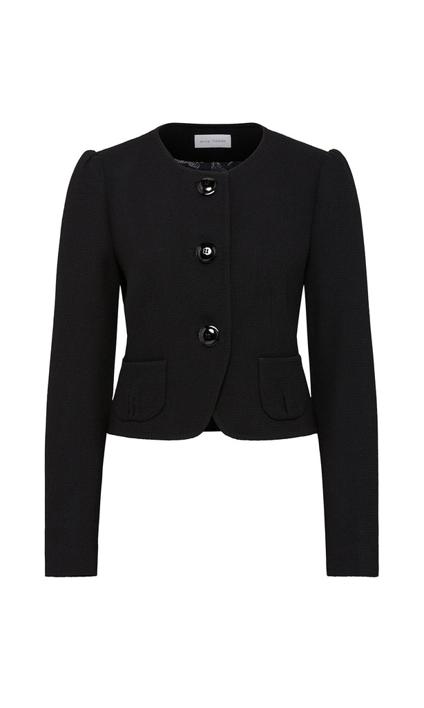 Lyon Collarless Jacket - Black
