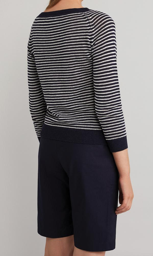 Marie Pullover - Navy/White