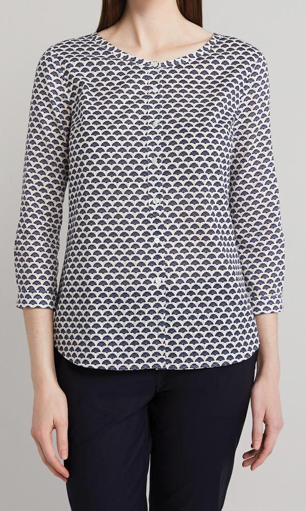 Malone Blouse  - White/Navy