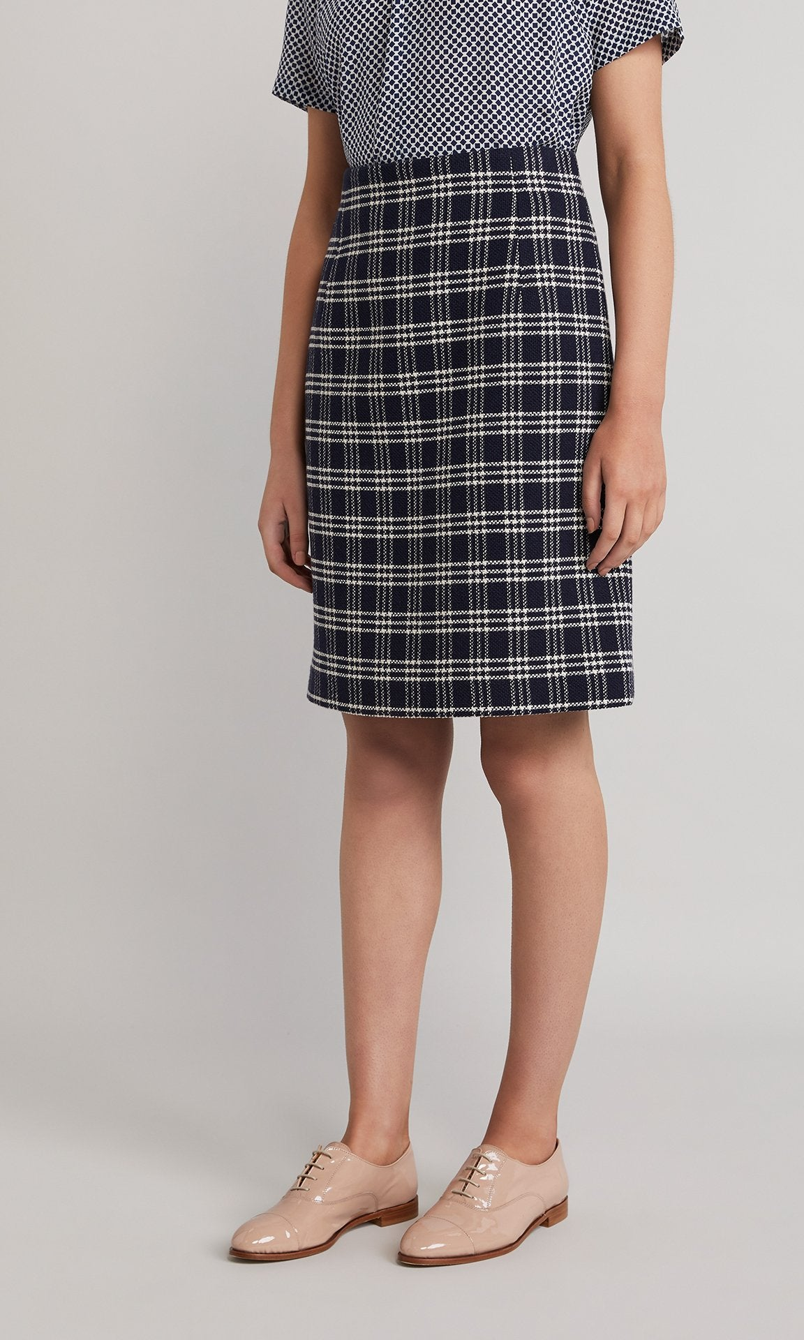 Piper Skirt - Navy/Creme