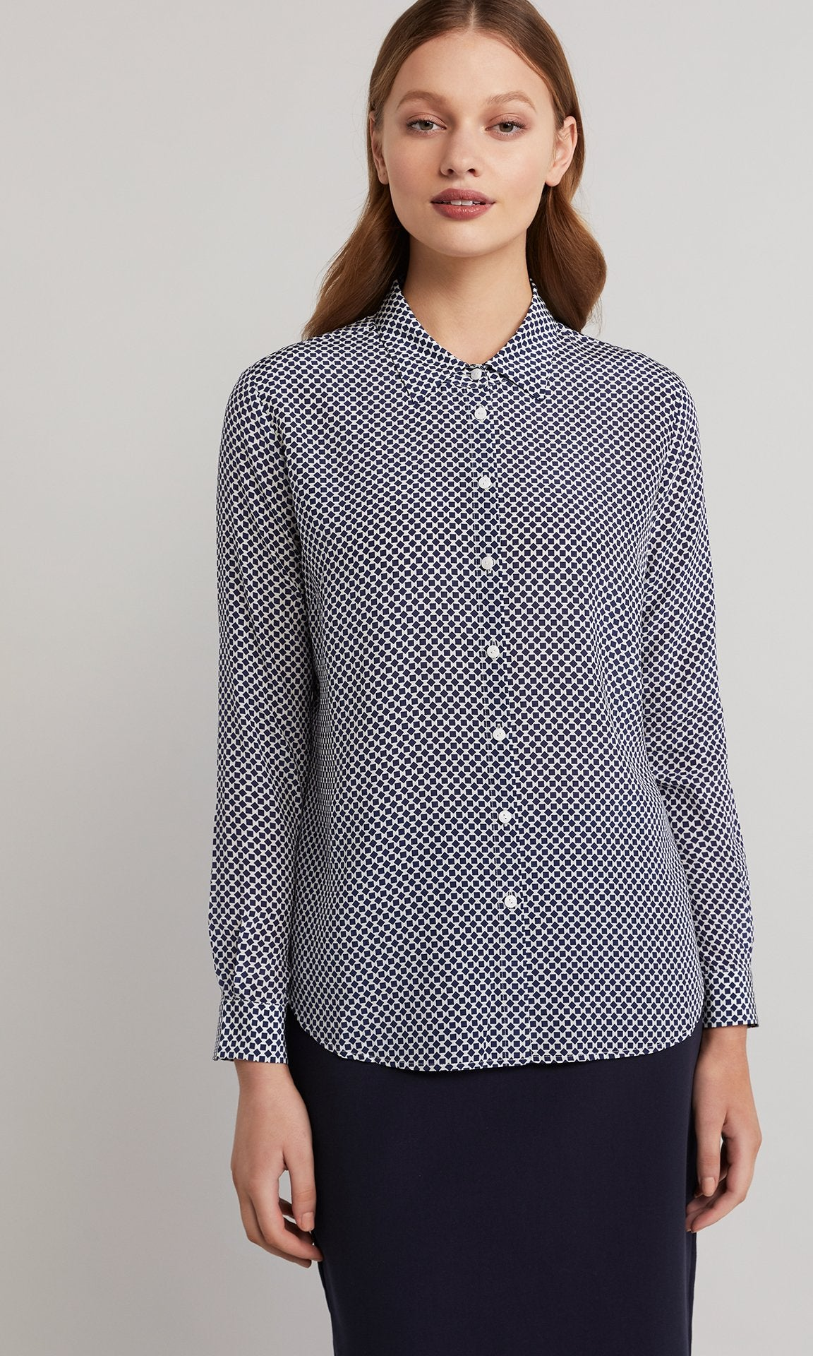 Violetta Shirt - Navy/white