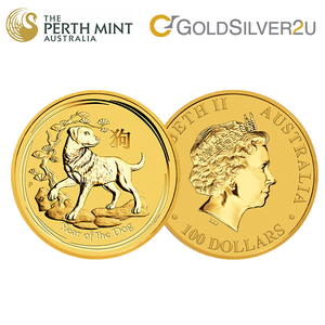 "Tomei x Perth Mint Yellow Gold 9999 (24K)  ""2018 Year of the Dog"" Coin 1/2 Oz. (AD-1/2Z)"