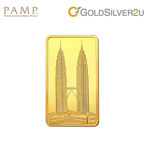 "Tomei x PAMP Suisse Yellow Gold 9999 (24K) ""Icons of Malaysia - Twin Tower"" Wafer 100 Grams (PTT-R-100G)"
