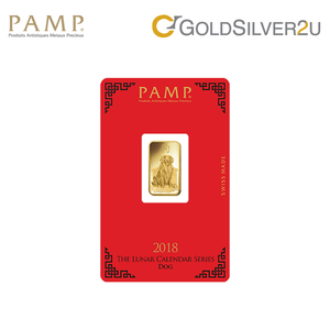 "Tomei x PAMP Suisse Yellow Gold 9999 (24K) ""Lunar Dog"" Wafer (PDG-R)"