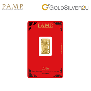 "Tomei x PAMP Suisse Yellow Gold 9999 (24K) ""Lunar Monkey"" Wafer (PSM-R)"