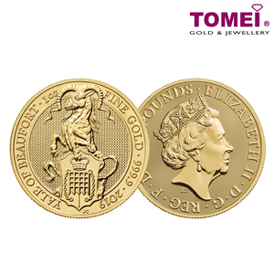 "[ONLINE EXCLUSIVE PRE ORDER] Tomei x Royal British Mint Yellow Gold 9999 (24K) ""2019 Great Britain Queen's Beasts - The Yale of Beaufort"" Coin 1 Oz. (BBB-1Z-19)"