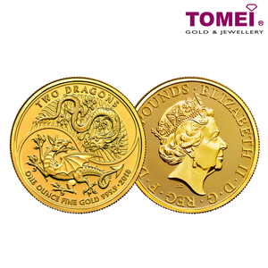 "[ONLINE EXCLUSIVE PRE ORDER] Tomei x Royal British Mint Yellow Gold 9999 (24K) ""2018 Great Britain Two Dragons"" Coin 1 Oz. (BBD-1Z-18)"