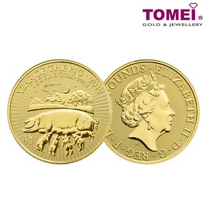 "[ONLINE EXCLUSIVE PRE ORDER] Tomei x Royal British Mint Yellow Gold 9999 (24K) ""2019 Great Britain Lunar Year of The Pig"" Coin 1 Oz. (BPG-1Z-19)"