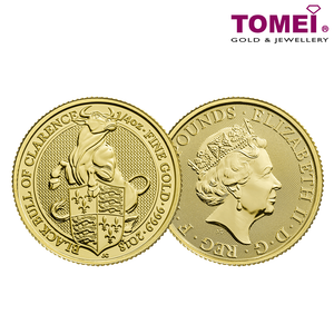 "[ONLINE EXCLUSIVE PRE ORDER] Tomei x Royal British Mint Yellow Gold 9999 (24K) ""2018 Britain The Queen's Beasts - The Black Bull of Clarence"" Coin (BQB-18)"