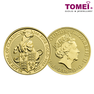 "[ONLINE EXCLUSIVE PRE ORDER] Tomei x Royal British Mint Yellow Gold 9999 (24K) ""2018 Britain The Queen's Beasts - The Black Bull of Clarence"" Coin 1 Oz. (BQB-1Z-18)"
