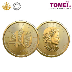 "[ONLINE EXCLUSIVE PRE ORDER] Tomei x Royal Canadian Mint Yellow Gold 9999 (24K) ""2019 40th Anniversary of the Gold Maple Leaf"" 1 Oz. (ML-40-1Z-19)"