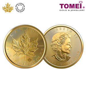 "[ONLINE EXCLUSIVE PRE ORDER] Tomei x Royal Canadian Mint Yellow Gold 9999 (24K) ""2019 Maple Leaf Incuse"" Coin 1 Oz. (MLI-1Z-19)"
