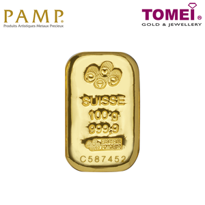 [ONLINE EXCLUSIVE PRE ORDER] Tomei x PAMP Suisse Yellow Gold 9999 (24K) Cast Bar 100 Grams (PSS-R-100G)