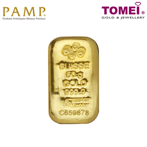 [ONLINE EXCLUSIVE PRE ORDER] Tomei x PAMP Suisse Yellow Gold 9999 (24K) Cast Bar 50 Grams (PSS-R-50G)
