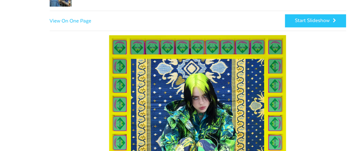 POPSUGAR: Billie Eilish's Versace Parka Is Like Her Own Damn Version of J Lo's Famous Green Dress