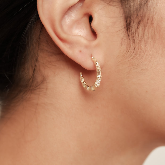 THE PAVE' BAMBOO HOOP EARRINGS