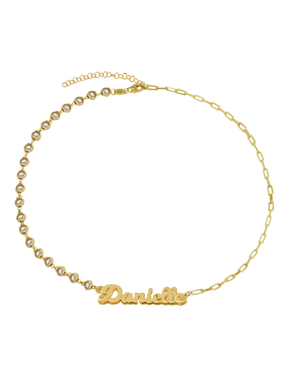 THE BEZEL REDA LINK NAMEPLATE NECKLACE