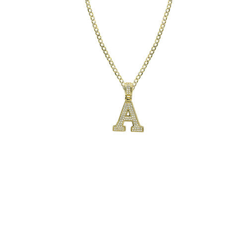 THE ICED OUT VARSITY LETTER PENDANT NECKLACE