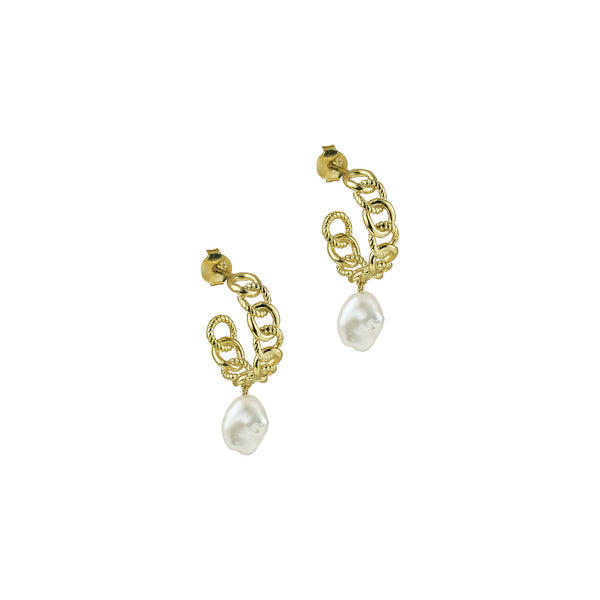 THE PEARL CUBAN LINK EARRINGS