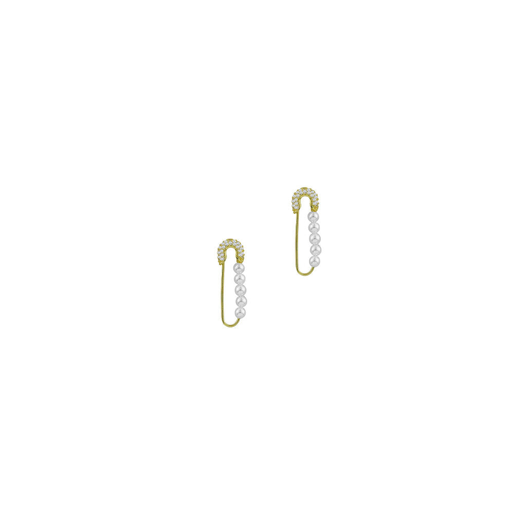 THE PEARL SAFETY PIN EARRINGS