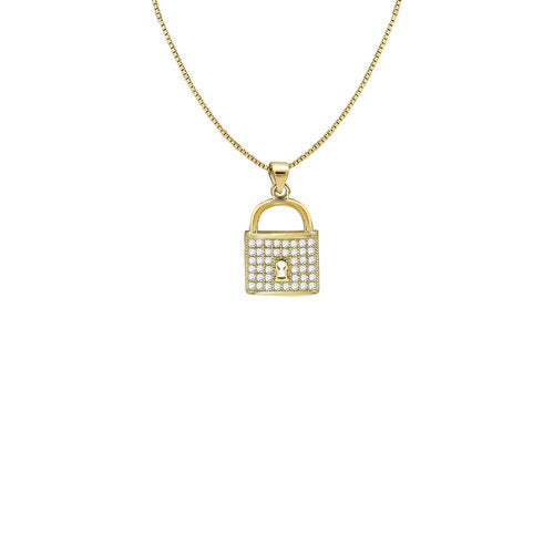 THE PAVE' PENDANT LOCK NECKLACE
